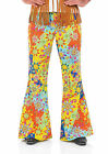 Mens 60s 70s Hippy Psychedelic Flower Power Fancy Dress Costume TROUSERS 3331