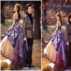 New Purple Retro Satin Wedding Dresses Formal Prom Party Quinceanera Ball Gown