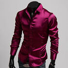 Mens Luxury Casual Slim Fit Top Hot Muscle Dress Shirts Long sleeve Formal Shirt
