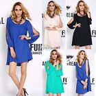 Women Long Sleeve Sexy Chiffon Party Ball Prom Evening Short Mini Dress S M L