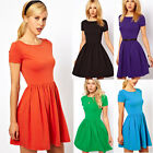 Fashion Women Pleated Cotton Slim Short Sleeve Cotton Skater Party Mini Dress