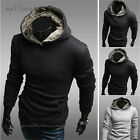 New Men's Fur Hooded Sweater Hedging Sweater Solid Jacket pull over 3 Colors