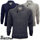 Men's Soul Star Jumper Cable Knit Designer Chunky Shawl Neck Pullover Sweater