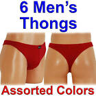6 Pairs Men's Sexy Thongs Double-Layered Front Lined G-String Tanga Sissy Plain