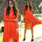 New Women Long Sleeve Loose Casual Dresses Summer Evening Party Chiffon Cocktail