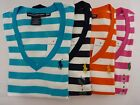 NWT Ralph Lauren V-Neck Short Sleeve Striped T-Shirt For Women XS, S, M, L