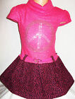 GIRLS BRIGHT PINK GOLD SPARKLE LOGO KNIT WOOLLY WINTER PARTY DRESS with BELT