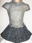 GIRLS GREY GOLD SPARKLE LOGO KNIT WOOLLY WINTER PARTY DRESS with BELT
