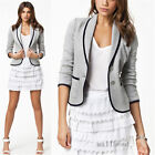 New Women Ladies Wild Jacket Coat Button Long Sleeve Short Suit Blazer Outerwear