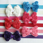 Cute Baby Girl Toddler Lace Flower Bowknot Bow Soft Elastic Headband Hair Band