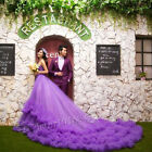 Purple One Shoulder Long Tail Wedding Dresses Prom Party Quinceanera Ball Gown