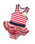 Kids Girls Swimming Costume Swimsuit Stripe PIRATE Print Ruffle Age 1 2 3 4 5 6
