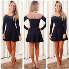 Fashion Women Sexy Lace Long Sleeve Evening Cocktail Short Mini Dress Fashion