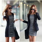 New Women Sexy Mini Dress Long Sleeve Office Lady Pencil Slim Casual Dress