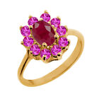 1.52 Ct Oval Red Ruby Pink Sapphire 14K Yellow Gold Ring