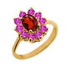 1.40 Ct Oval Red Garnet Pink Sapphire 18K Yellow Gold Ring