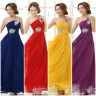 New Elegant One Shoulder Long Evening Gown Bridesmaid Wedding Party Prom Dress