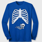 HORNS UP Funny Skeleton Baby Maternity Xray T-shirt Thumbs Up Long Sleeve Tee