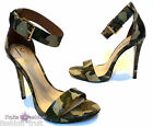 RIHANNA River Island Khaki Camo Leather High Heel Stiletto Sandals UK8 EU41 US10