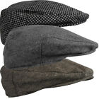 Mens Wool Mix Flat Peak Cap Tweed Country Peaked Outdoors Racing Hat Gents