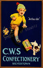 Vintage CWS. Confectionary print poster, large 4 sizes available