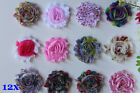 12x DIY Shabby Chiffon Flowers Embellishment Craft DIY for Headband Clip 2.5""