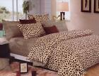 Vogue Cotton Leopard Brown Chic Animal Print Duvet Quilt Cover Bedding Set JRAU
