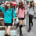 Latest Leopard Batwing Sleeve Crewneck Cotton Sweater Dress Top Women Jumpers