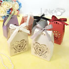 7*3.4*9.8cm Heart Laser Cut Favour Pearlised Box Ribbons Wedding Banquet Colours