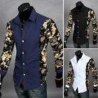 Fashion Mens Slim Fit Basic Shirt Floral Long Sleeve Front Button Lapel Tops New