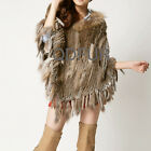 Classic Real Rabbit Fur Knit Poncho Shawl With Tassels 4 Colors Winter Pashmina