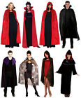 Mens Ladies Long Red Black Cape Cloak Medieval Vampire Fancy Dress Costume NEW