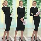 1PC Women Long Sleeve Slim Bodycon Stretch Cocktail Party Pencil Dress Vogue