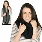 Ladies Vienna Warm Knitted Snood Womens Loop Scarf Accessory Black / Charcoal