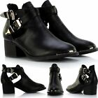 New Ladies Metal Buckle Trim Flat Low Block Heel Biker Chelsea Ankle Shoe Boots