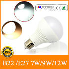 LOT 6/12 B22/E27 7W/9W/12W Bayonet Screw Thread Golf LED Bulbs Lamps Ball Globe