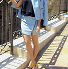 ZARA BLOGGERS FAUX LEATHER PASTEL BLUE MINI PARTY SKIRT SIZE S SMALL