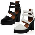 LADIES NEW FAUX LEATHER WOMENS POINTY PLATFORM HIGH HEEL SHOES SANDALS SIZE 3-8
