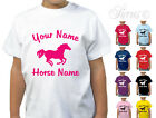 PERSONALISED HORSE RIDING DESIGNER GIRLS T-SHIRT TSHIRT KIDS CHILDRENS ALL AGES