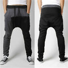 Men Stitching Casual Sporty Hip Hop Dance Harem Baggy Skinny Sweat Pant Trousers
