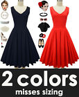 50s Style MISSES VNeck SOLID Color Pinup Dress with Full Skirt &Pockets -2COLORS