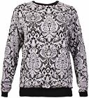Womens Jacquard Print Ladies Long Sleeve Sweatshirt Jumper T-Shirt Top Plus Size