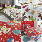 CHRISTMAS TREE SNOWMAN REINDEER ROBIN QUILT DUVET COVER BEDDING SET & PILLOWCASE