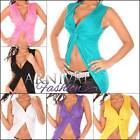 NEW SEXY WOMENS WRAP TOP 6 8 10 12 CROP SHIRT for LADIES CLUBWEAR BEACH XS S M L