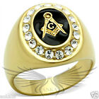 Men's Masonic Freemason Ring Gold Plated Top Grade Crystal Accented GL050