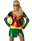 Sexy Metallic Red Green Superhero Robin Comic Cosplay Halloween Costume XS-L