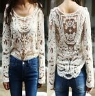 Women's Semi Sheer Sleeve Embroidery Floral Lace Crochet T-Shirt Top Blouse New