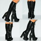 WOMENS BLACK PU FAUX LEATHER KNEE HIGH CHUNKY PLATFORMS ANKLE BOOTS HIGH HEELS