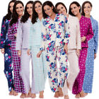 Womens Traditional Flannel PJ Pyjama Set Night Wear PJ's Pyjamas Sets Ladies