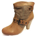 Ladies Womens Mid Block Heel Biker Boot Cowboy Ankle Buckle Boots Shoes Size 3-8